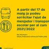 Ja es pot sol·licitar l'ajut de menjador i transport escolar per al curs 2021-2022